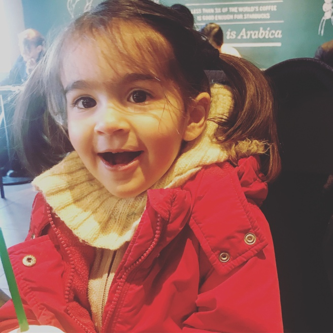 Happy baby at Starbucks